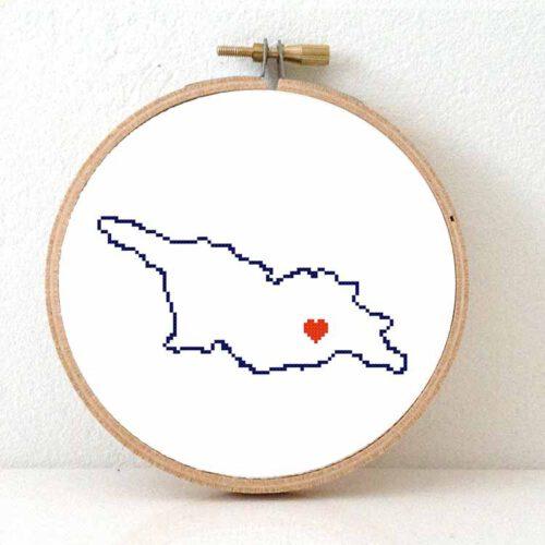 Stitchamap Georgia map cross stitch pattern