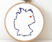 Germany map cross stitch pattern