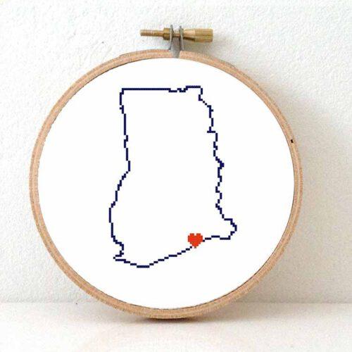 Ghana map cross stitch pattern