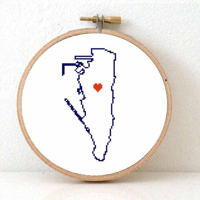 Gibraltar map cross stitch pattern