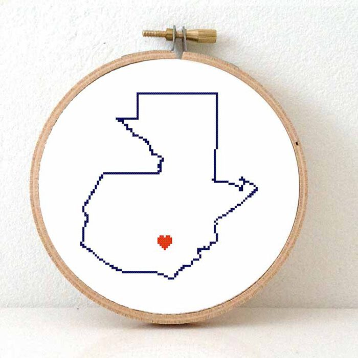 Guatamala map cross stitch pattern