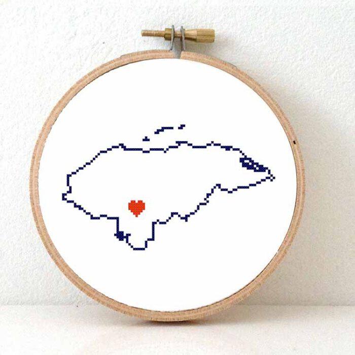 Stitchamap Honduras map cross stitch pattern
