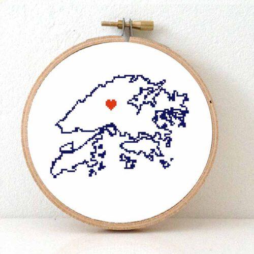 Stitchamap Hong Kong map cross stitch pattern
