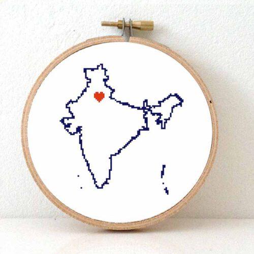 India map cross stitch pattern