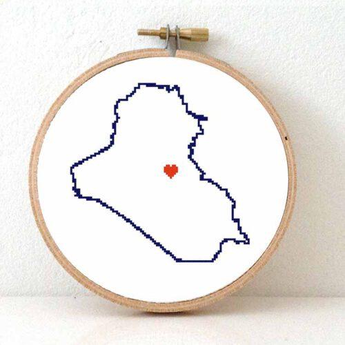 Stitchamap Iraq map cross stitch pattern