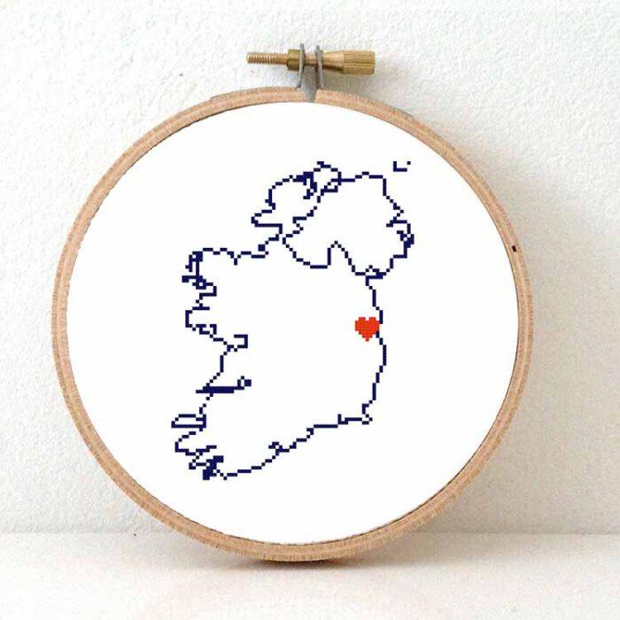 Ireland map cross stitch pattern