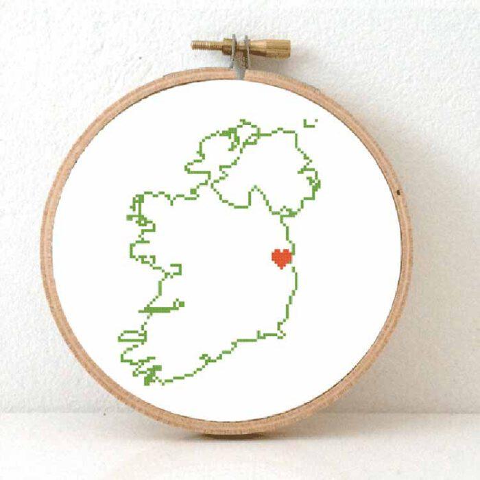Stitchamap - Ireland map cross stitch pattern