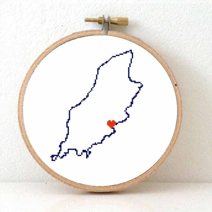 Isle of Man map cross stitch pattern