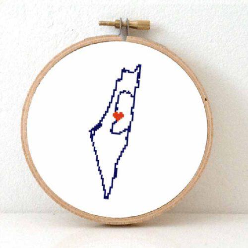 Stitchamap Israel map cross stitch pattern