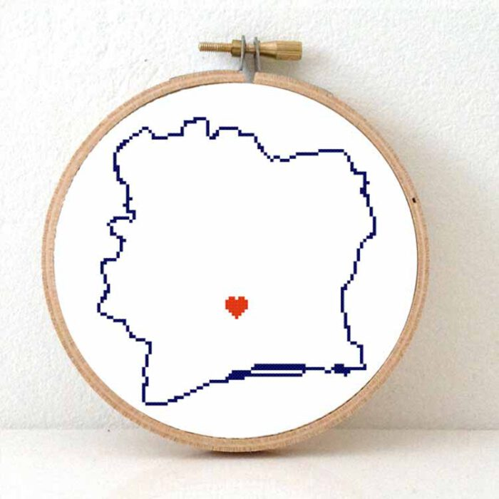 Ivory coast map cross stitch pattern