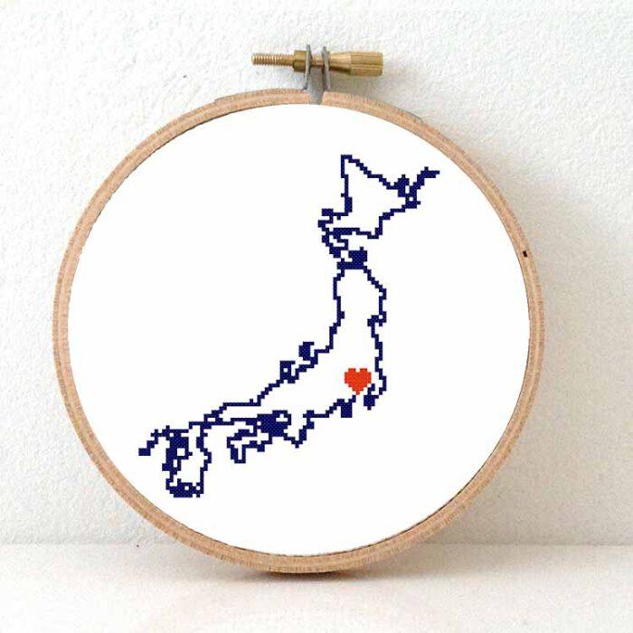 Stitchamap - Japan map cross stitch pattern
