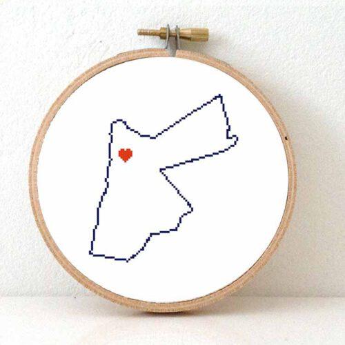 Jordan map cross stitch pattern