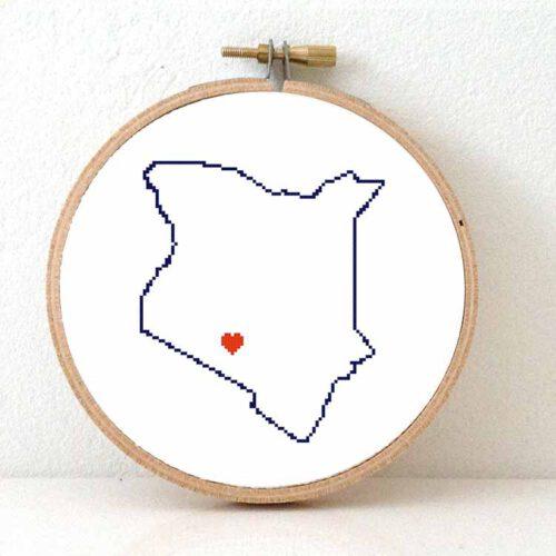 Stitchamap Kenya map cross stitch pattern