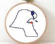 Stitchamap Kuwait map cross stitch pattern