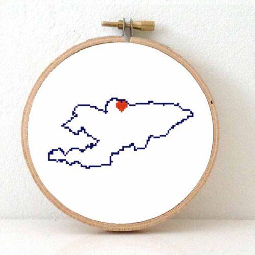 Kyrgyzstan map cross stitch pattern