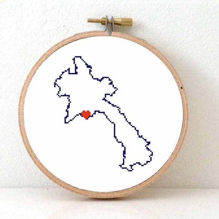 Laos map cross stitch pattern
