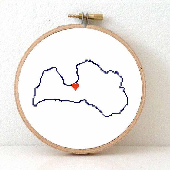 Stitchamap Latvia map cross stitch pattern