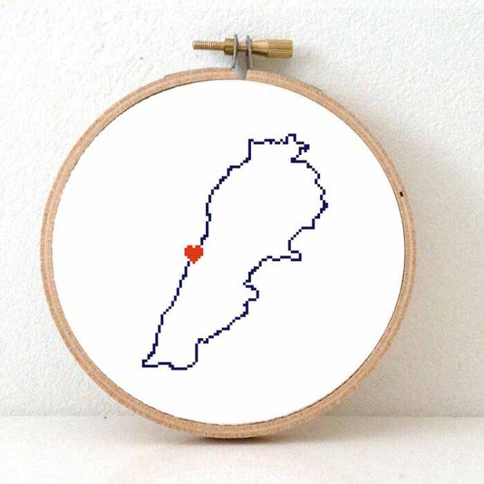 Stitchamap Lebanon map cross stitch pattern