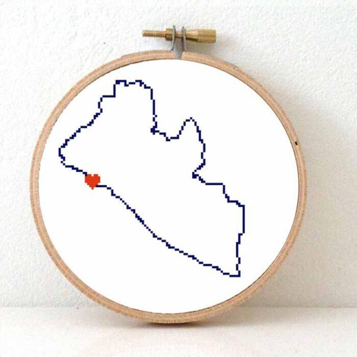 Liberia map cross stitch pattern