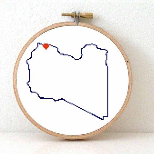 Libya map cross stitch pattern