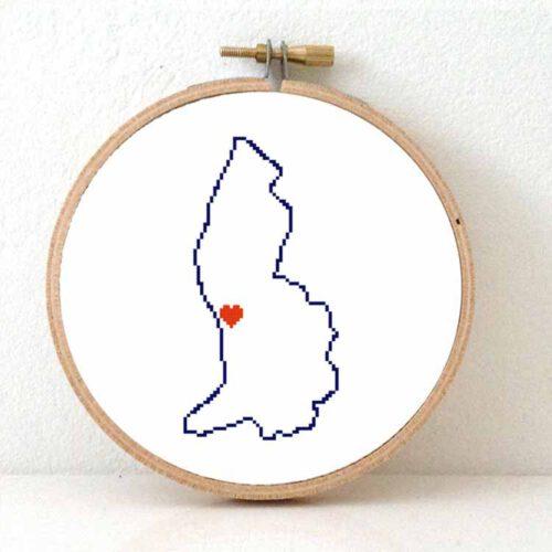 Liechtenstein map cross stitch pattern