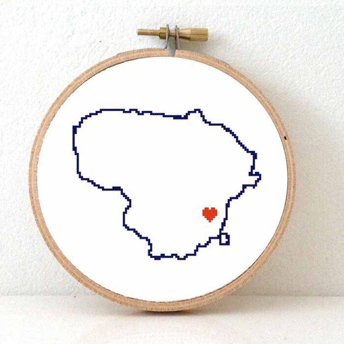 Stitchamap Lithuania map cross stitch pattern