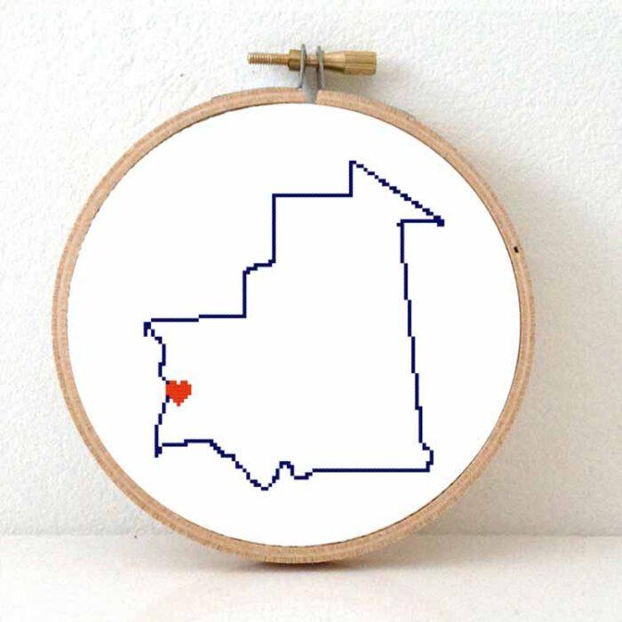 Mauritania map cross stitch pattern