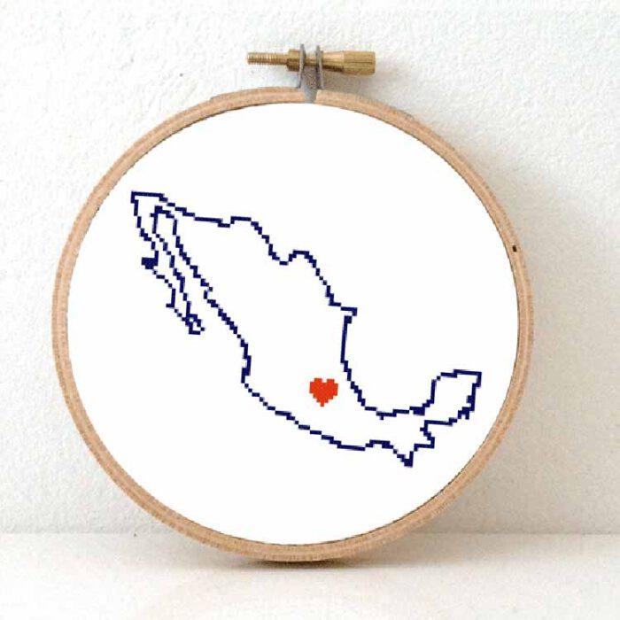 Stitchamap - Mexico map cross stitch pattern