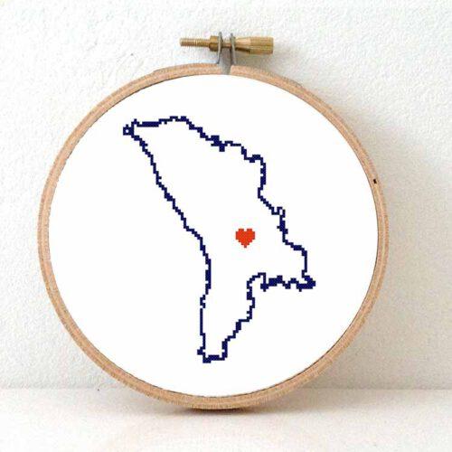 Moldova map cross stitch pattern