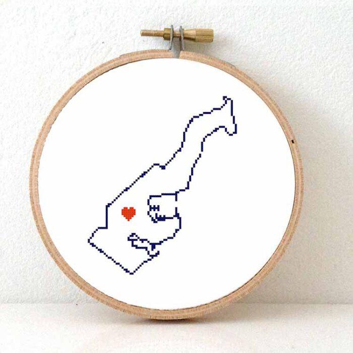 Stitchamap Monaco map cross stitch pattern