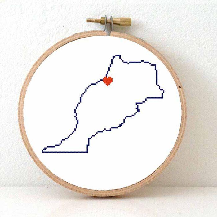 Stitch a map - Morocco map cross stitch pattern