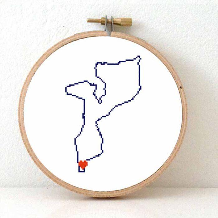 Mozambique map cross stitch pattern