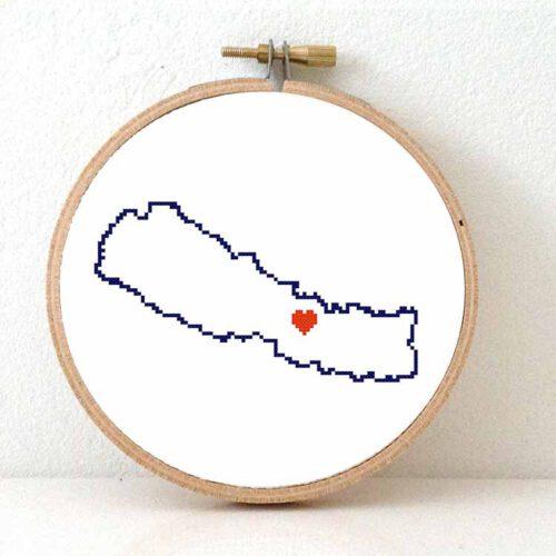 Stitchamap Nepal map cross stitch pattern