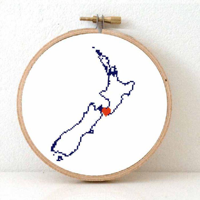 Stitchamap - New Zealand cross stitch pattern