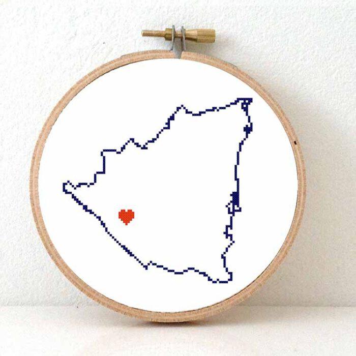 stitchamap - nicaragua map cross stitch pattern