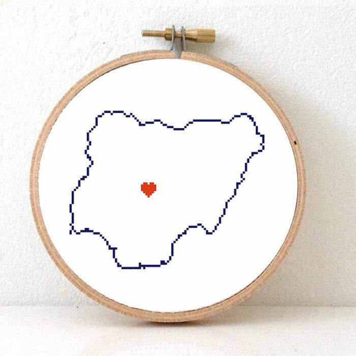 Stitchamap Nigeria map cross stitch pattern