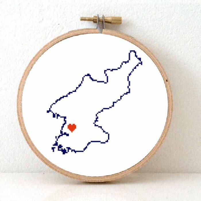 Stitchamap North Korea map cross stitch pattern