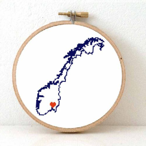 Stitchamap Norway map cross stitch pattern for beginners