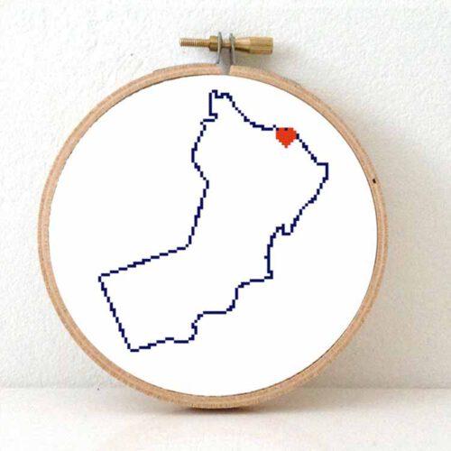 Oman map cross stitch pattern