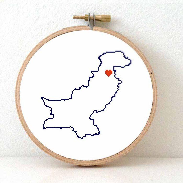 Stitchamap Pakistan map cross stitch pattern