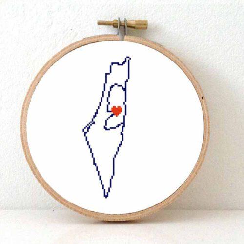 Stitchamap Palestina map cross stitch pattern