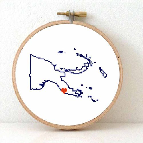 Papua New Guinea map cross stitch pattern