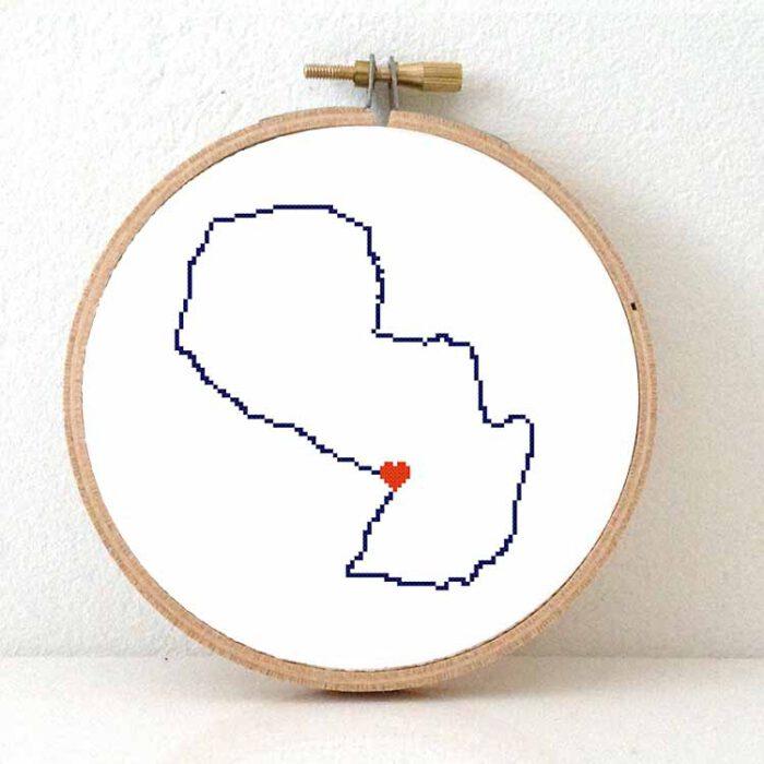 Stitchamap Paraguay map cross stitch pattern