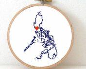 Stitchamap - Phillipines map cross stitch pattern