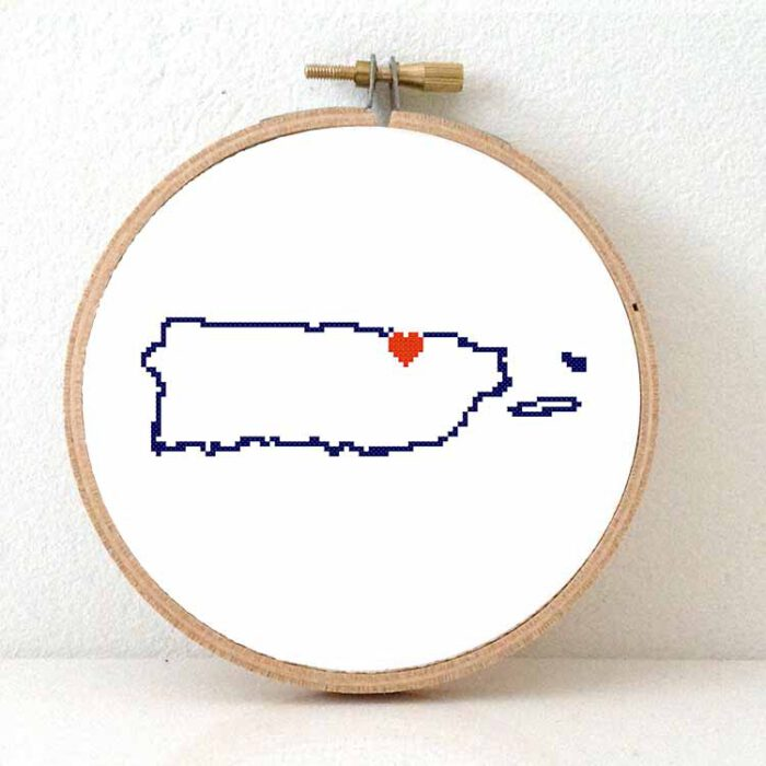 Puerto Rico map cross stitch pattern