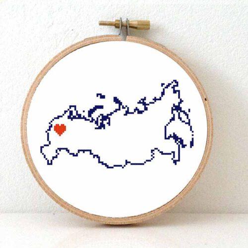 Russia map cross stitch pattern