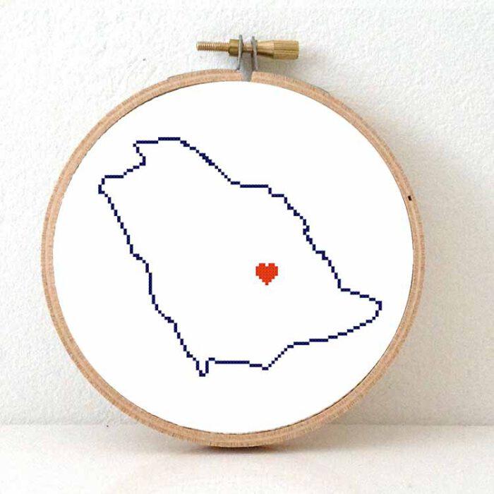 stitchamap - Saudi Arabia map cross stitch pattern