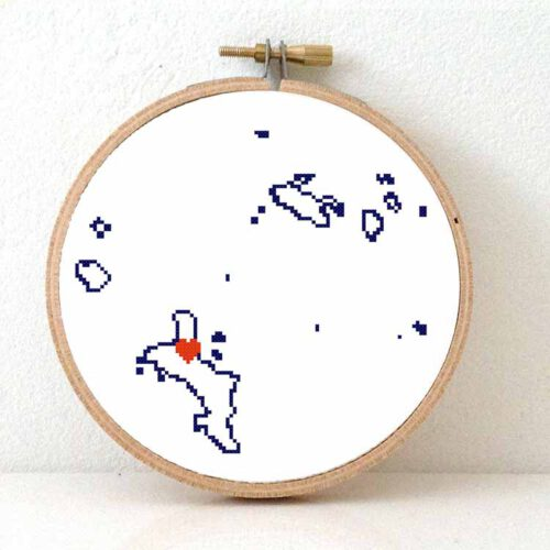 Seychelles map cross stitch pattern