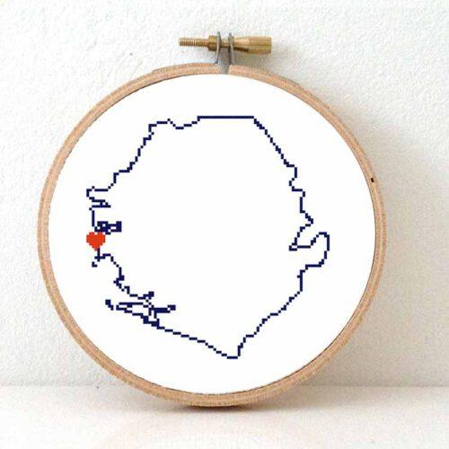 Sierra Leone map cross stitch pattern