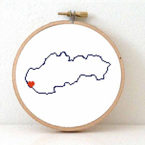 Slovakia map cross stitch pattern